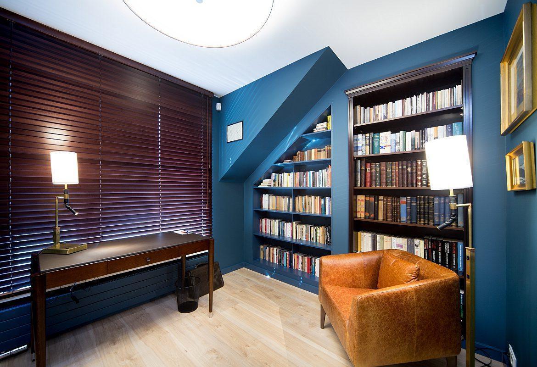 pokój z niebieskimi ścianami