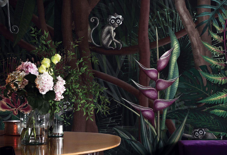 tapeta na ścianę z małpką